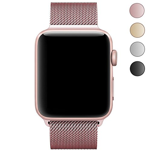 Produktbild LEEHUR Apple Watch Armband 38mm, Milanese Schlaufe Edelstahl Smart Watch Armbänder mit einzigartiger Magnetverriegelung ohne Schnalle für Apple Watch Armband 38mm Series 1/2/3