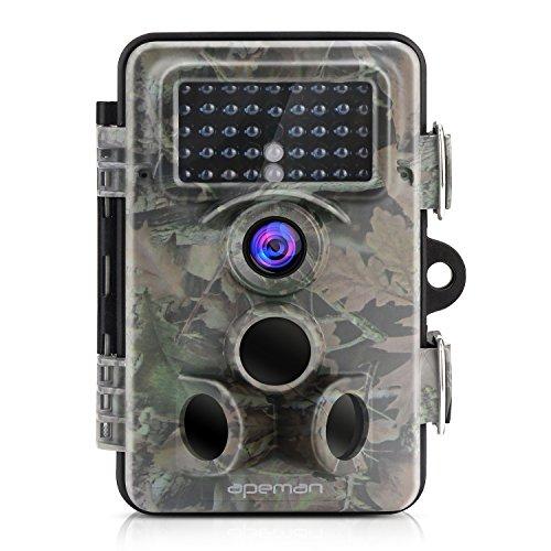 "Produktbild APEMAN Wildkamera Fotofalle 12MP 1080P Full HD Jagdkamera Gartenkamera 120°Breite Vision Infrarote 20m Nachtsicht 2.4"" LCD Tierbeobachtungskamera (130 ° Weitwinkelobjektiv)"