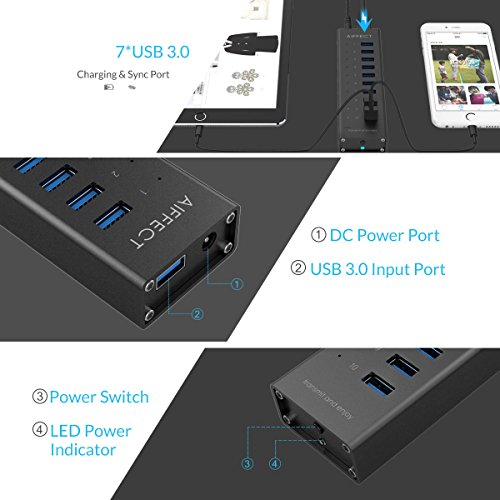 AIFFECT 10 Port USB 3.0 SuperSpeed Charging Hub with Power Adapter, BC 1.2 Charging Support – Black - 5