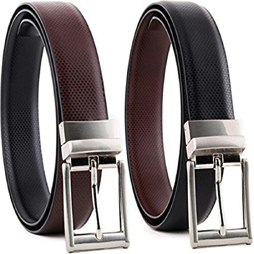 HT Collections Men's Black and Brown Reversible Leather Belt (HTCB_Cronas, Pack of 01 Belt)