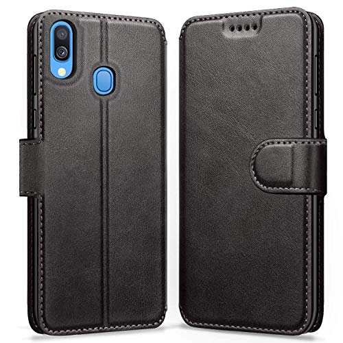 ykooe Funda Samsung Galaxy A40, Funda Libro de Cuero Magnética Carcasa para Samsung Galaxy A40 (Negro)