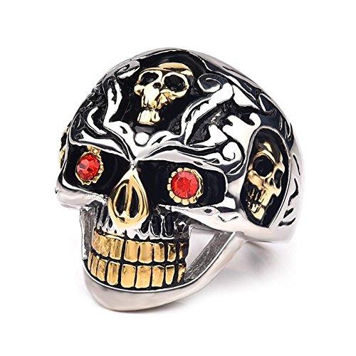 Daxey - Punkgold 316L Edelstahl-Schädel-Ring für Männer Schmuck Gothic Red Crystal Eyes-Finger-Ring für Partei Male Biker Geschenke [8]