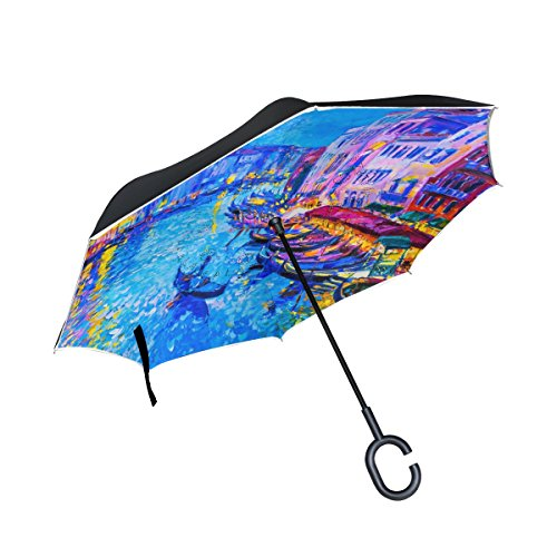 My Daily Double Layer seitenverkehrt Regenschirm Cars Rückseite Regenschirm Colorful Venice...
