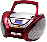 CD-Player | Tragbares Stereo Radio | Kinder Radio | Stereo Radio | Stereoanlage | Boombox | LCD-Display | USB-Anschluss | AUX IN | FM Radio (CP-442 Rot)