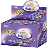 Milka Naps Mix -  Zartschmelzende Mini-Schokoladentäfelchen aus Alpenmilch, Erdbeer, Haselnuss und Crème au Cacao - Thekendisplay - 1 x 1,702 kg