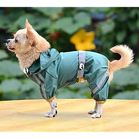 Aution House - Mascota Perro Impermeables Chubasqueros para Pequeños y Medianos Perros - Impermeable Chanqueta con Capucha -Lluvia Impermeable - Lluvia Poncho (XL, VERDE)