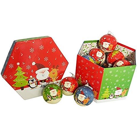 Bolas de juego de caracteres de Navidad rojo, verde y azul, en caja de regalo
