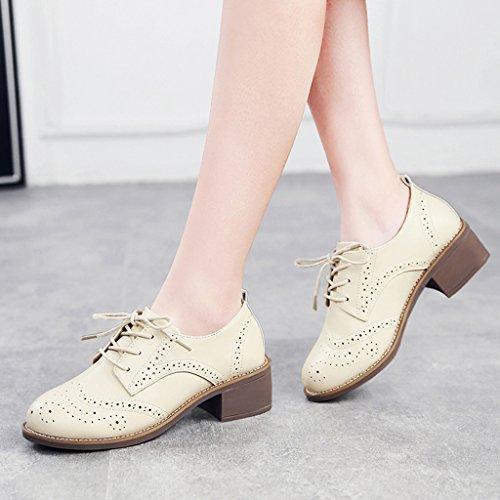 HWF Chaussures femme Souliers simples occasionnels des femmes britanniques de ressort de style rétro de femmes en cuir chaussures talons épais ( Couleur : Marron , taille : 36 ) Beige