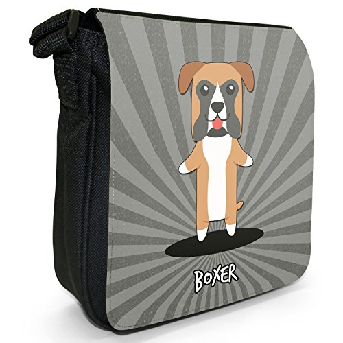 Tedesco Cartoon cani piccola borsa a tracolla tela nera, misura piccola Boxer, German Boxer, Deutscher