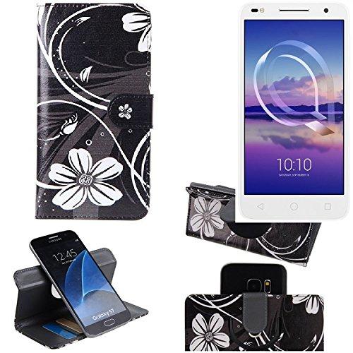 K-S-Trade Schutzhülle für Alcatel U5 HD Dual SIM Hülle 360° Wallet Case Schutz Hülle ''Flowers'' Smartphone Flip Cover Flipstyle Tasche Handyhülle schwarz-weiß 1x