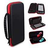 Durable Portable Travel Carrying Case Red With 10 Game Card Holders Hard Shell Pouch Travel Carrying Protective Storage Bag for Nintendo Switch Accessories