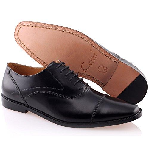Unze Für Männer Prope ' Leather Laced -up -Kleid-Schuhe - IMP-M3AL Schwarz