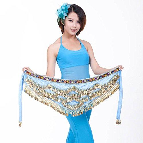 Belly Dance Hip Écharpe Ceinture Jupe avec 328Pièces Blue-B
