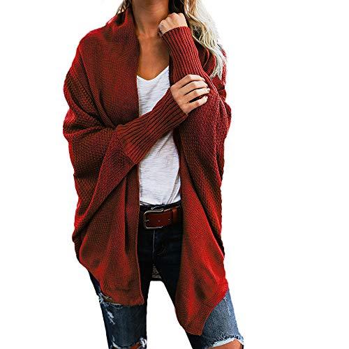 iHENGH Damen Winter Warm Bequem Mantel Lässig Mode Frauen Womens aus der Schulter Pullover lässig gestrickte lose Lange Ärmel Jacke (Rot,S)