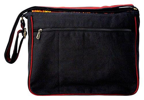 Sunsa Messengertasche, Borsa a tracolla donna Multicolore nero Größe circa (BxHxT):  34x30x11 cm nero