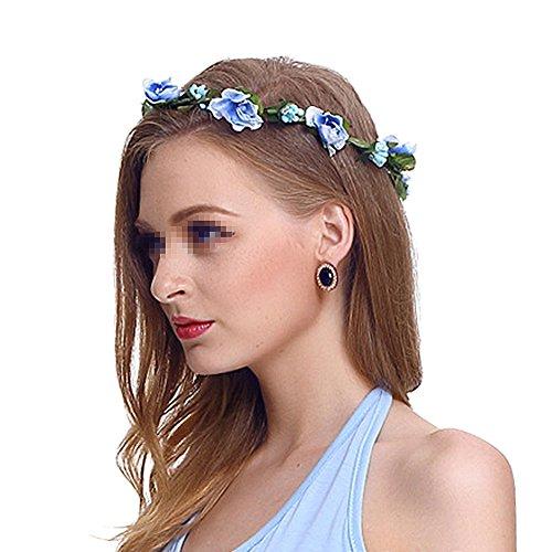 Butterme Damen Mädchen Blumen Stirnband Haarband Kopfband Krone Boho Blumenhaar Dekoration für Garland Wedding Festival Party Travel (Blau)