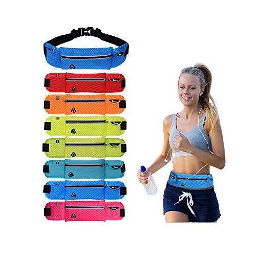 Ajew Sport elastische Bauchtasche Hüfttasche gürteltasche-Gürteltasche / Bauchtasche / Lauftasche für Laufen, Wandern, Klettern, Reiten / leuchtet in der Nacht Schwarz + grau
