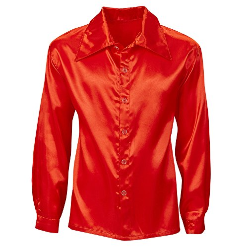 WIDMANN WDM9553R - Costume Per Adulti Camicia Disco Anni 70 in Raso, Rossa, XL