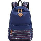 AuBer Daypack Segeltuch Schule Rucksack beiläufige Rucksack Reisetasche Schulrucksack für Teenager Frauen Dame Mädchen ethnische Art Blumen Dekoration