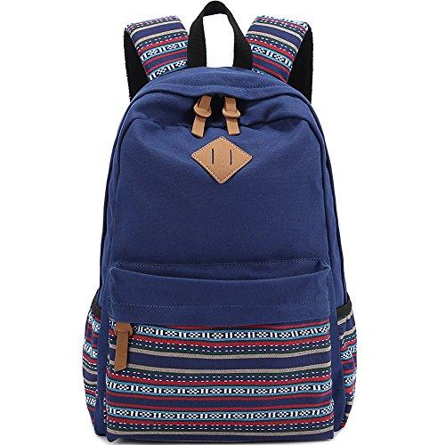 AuBer Daypack Segeltuch Schule Rucksack beiläufige Rucksack Reisetasche Schulrucksack für Teenager Frauen Dame Mädchen ethnische Art Blumen Dekoration (Dakine Mädchen Rucksack Blumen)