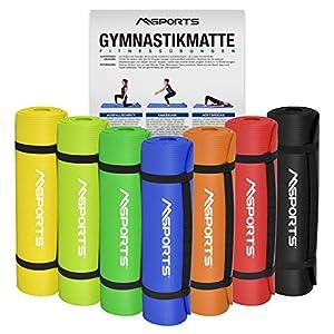 MSPORTS Gymnastikmatte Yoga | inkl. Übungsposter | 190 x 60 x 1,5 cm | Hautfreundlich – Phthalatfrei weich – extra dick | Fitnessmatte