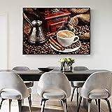 Wieoc Moderne Kaffee Thema Wandkunst Leinwand Poster Und Drucke Kaffeebohnen Leinwand Gemälde Wandbilder Für Wohnzimmer 60X90 cm