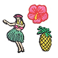 Souarts Pineapple Flower Girl Patch Cartoon Brooch Pin Badges Set for Clothes Bag Backpacks Jackets