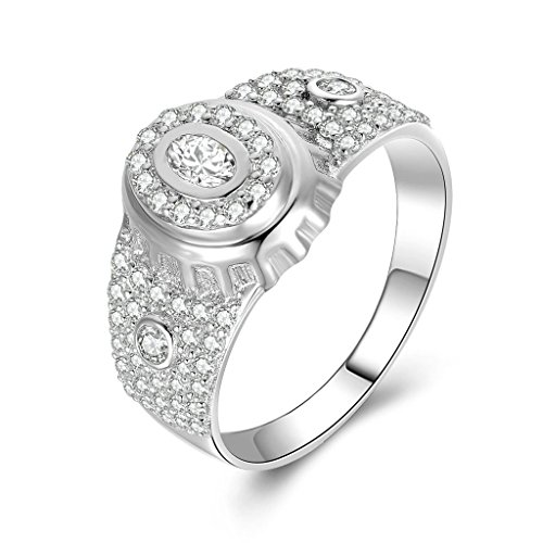 Daesar Silberring Herren Ring Silber Trauring Benutzerdefinierte Ring Doppel Oval Strass Ring Größe:54 (Kostüme Paare Eier)