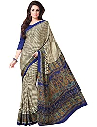 Florence Cream & Blue Crepe Printed Saree With Blouse