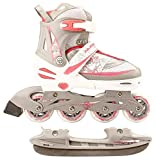 Nijdam 2in1 Semi Softboot Kinder Inline Skates Rollschuhe Schlittschuhe, Mehrfarbig (weiß/silber/rosa), 39-42