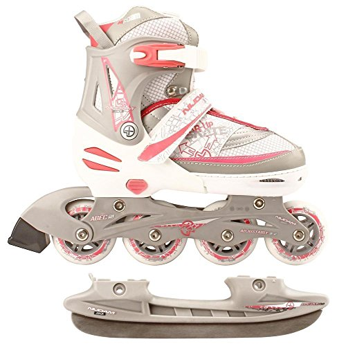 Nijdam 2in1 Semi Softboot Kinder Inline Skates Rollschuhe Schlittschuhe, Mehrfarbig (weiß/silber/rosa), 35-38