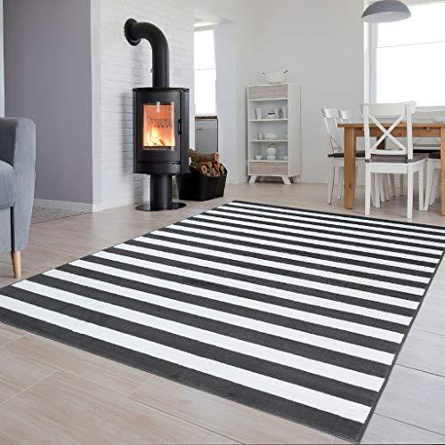Tapiso Luxury Teppich Kurzflor Grau Weiss Modern Designer Geometrisch Streifen Linien Muster Wohnzimmer Jugendzimmer ÖKOTEX 140 x 200 cm -