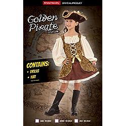 Disfraz de pirata para niña color oro, varias tallas.