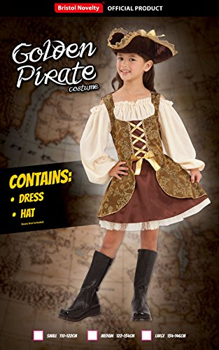 Bristol Novelty CC413 - Vestito da Pirata Dorato, Taglia L, da Ragazza, Multicolore