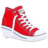 Damen Sneakers Sneaker Wedges Spitze Stoff Gr. 36-41 Keilabsatz Mehrfarbig Schuhe 129273 Rot Weiss 37 Flandell