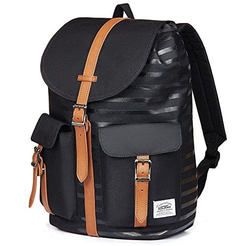 Kaukko Fashion Casual College Style Tasche Unisex Classic Kordelzug Rucksäcke Daypack Schultasche (grau) Schwarzp10