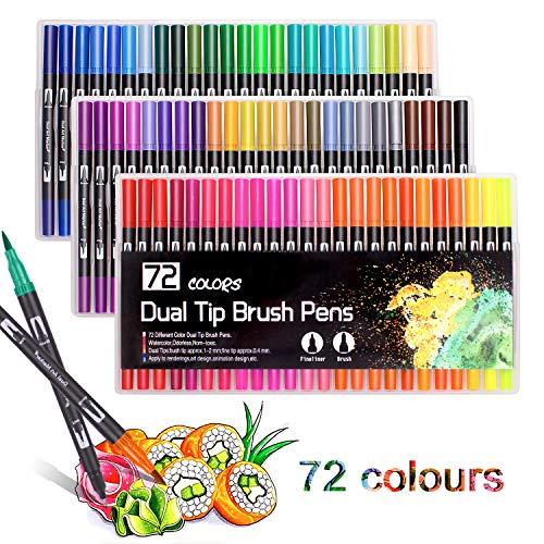 72 rotuladores de punta doble de 0,4 mm, punta fina y punta de pincel de 2 mm para colorear dibujos, pintura, rotuladores, marcadores de pincel, color negro