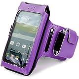 Tuff-Luv Uni-SE x taille unique Brassard de sport/ Sportsband étui amovible réglable pour Smartphones (iPhone 5s / SE Y compris / 5c / 6 Samsung Galaxy S3 S4 S5 / HTC One M7 M8 / Nexus 4 5 / Nokia Lumia) - pourpre