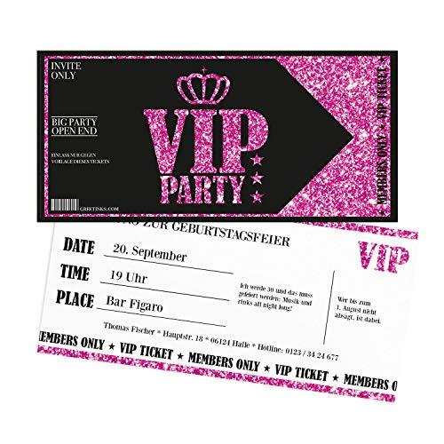 Einladungskarten Geburtstag Pink VIP | 30 Stück | Lady\'s Night | Inkl. Druck Ihrer Texte |Einladungen Geburtstag | Jugendweihe | Kindergeburtstag | Karte Einladung | Einladungskarte Mädchen