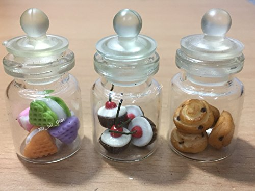 3-Teiliges Miniatur Schokolade Lebensmittel Kuchen Puppenhaus Donut Cookie Candy in Klar Glas Mini-Flasche Fruit Food # MF057 Fruit Cookie Jar