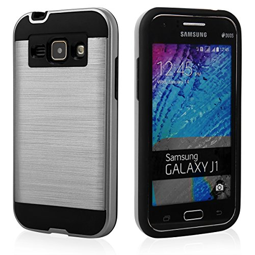 EGO® Hard Case Schutz Hülle für Samsung J100 Galaxy J1, Pink Metallic Effect Aluminium Brushed Handy Cover Schale Bumper Etui Silber