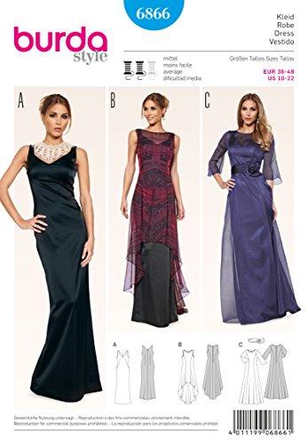 Burda B6866 Patron de Couture Robe de Soirée 19 x 13 cm