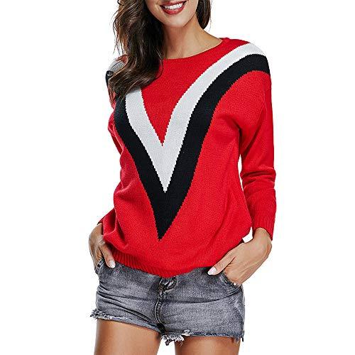 (MIRRAY Damen Streifen O-Ausschnitt Langarm Strick Pullover Bluse Strickwaren Pullover Tops)