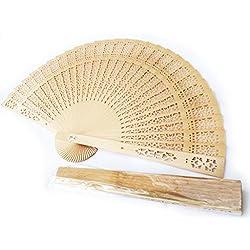 Venta al por mayor de abanicos de sándalo, para regalo de madera para boda.