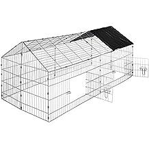 TecTake Jaula recinto para conejo ejecutar con parasol exterior animales 180 x 75 x 75 cm negro