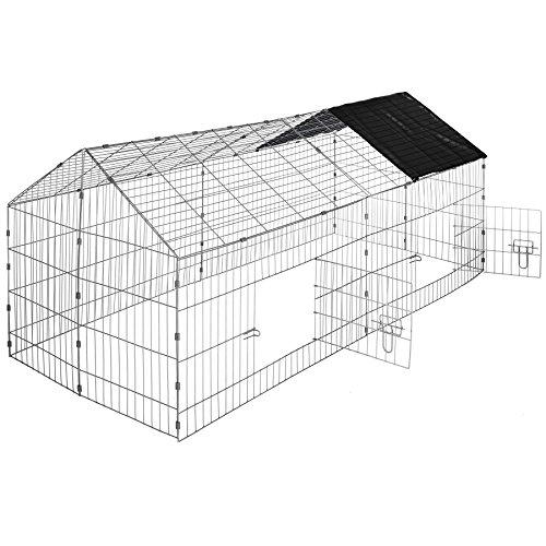 TecTake Kaninchen Freigehege mit Sonnenschutz Kaninchenstall | LxBxH 180 x 75 x 75 cm - diverse Farben - (Dach schwarz | Nr. 402421)