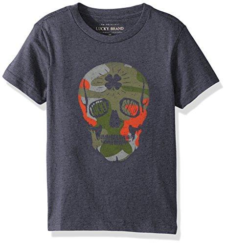 Lucky Brand Toddler Boys' Short Sleeve Graphic Tee Shirt, Peacoat Skull, 2T