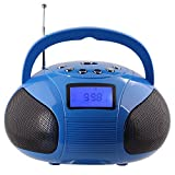 August SE20 � Mini Bluetooth MP3 Stereo System � Portable Radio with Powerful Bluetooth Speaker- FM Alarm Clock Radio with Card reader, USB and AUX in - 2 x 3W Stereo Hi-Fi Speakers (Blue)