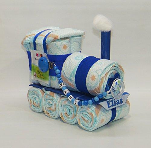 Windeltorte - Windellokomotive Windellok + Schnullerkette blau - Zug