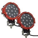 Auxtings 7 'Pulgadas 2 pcs 51 W inundación barra de luz LED luces de conducción luz de trabajo para todoterreno coche pastilla camión SUV UTV (rojo)